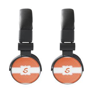 Orange and White Polka Dot Headphones