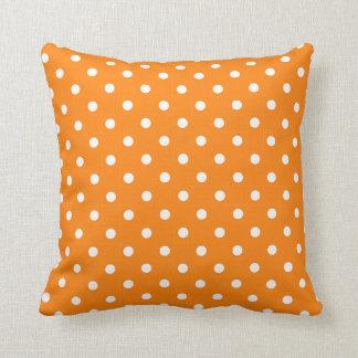 Orange and White Polka Dot on a Pillow Throw Cushion