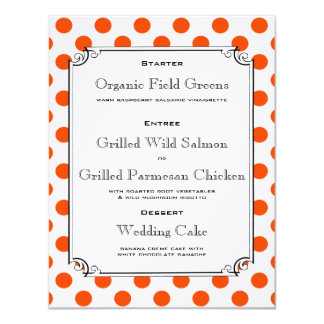 Orange and White Polka Dot Reception Dinner Menu 11 Cm X 14 Cm Invitation Card