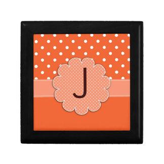 Orange and White Polka Dot Tile Box