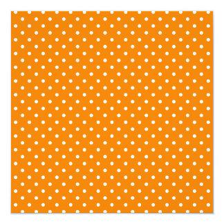 Orange and White Polka Dots 13 Cm X 13 Cm Square Invitation Card