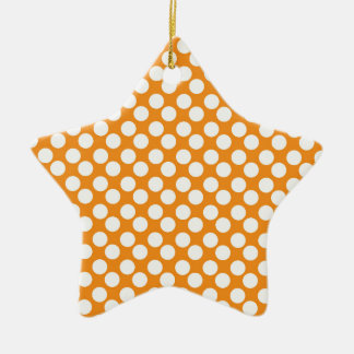 Orange and White Polka Dots; Cute Ceramic Star Decoration