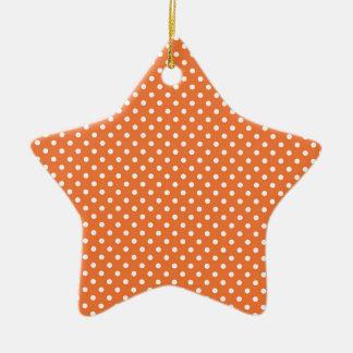 Orange and White Polka Dots Ceramic Star Decoration