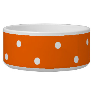 Orange and White Polka Dots Pet Food Bowls