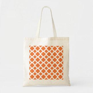 Orange and White Quatrefoil Pattern Tote Bag