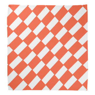 Orange And White Rectangles Retro Pattern Bandana