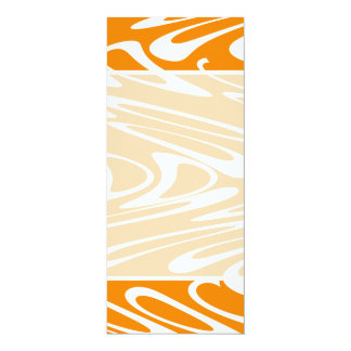 Orange and White Retro Pattern. 10 Cm X 24 Cm Invitation Card