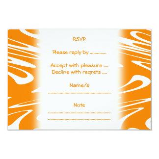 Orange and White Retro Pattern. 9 Cm X 13 Cm Invitation Card