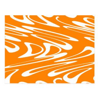 Orange and White Retro Pattern. Postcard