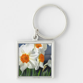Orange and White Silver-Colored Square Key Ring