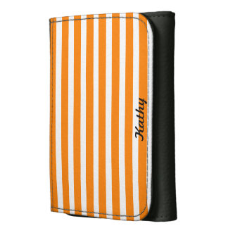 Orange and White Striped Trifold Wallet