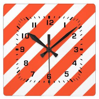Orange and White Stripes Retro Pattern Square Wall Clock