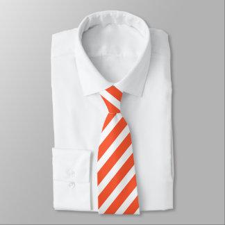 Orange and White Stripes Retro Pattern Tie