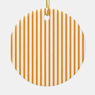 Orange and White Stripes Round Ceramic Decoration