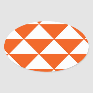 Orange and White Triangles Oval Sticker