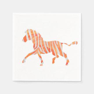 Orange and White Zebra Silhouette Paper Napkins