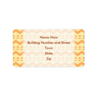 Orange and Yellow Chevron and Birds Pattern Address Label