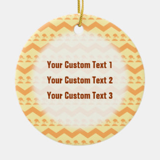 Orange and Yellow Chevron and Birds Pattern Ornaments