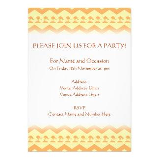 Orange and Yellow Chevron and Birds Pattern Custom Invite
