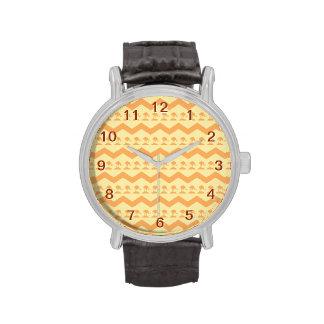 Orange and Yellow Chevron and Birds Pattern Watch