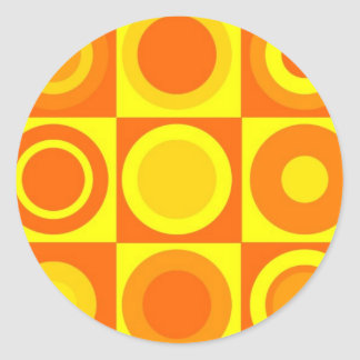 Orange and Yellow Circle Square Pattern Gifts Round Sticker