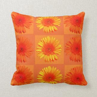 Orange and yellow daisies throw pillows