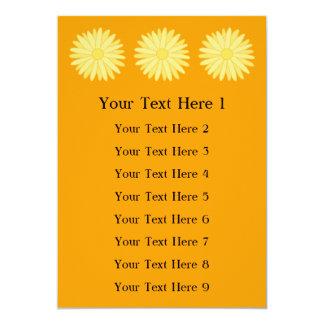 Orange and Yellow Floral Design. 13 Cm X 18 Cm Invitation Card
