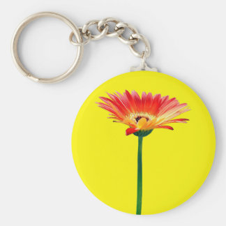 Orange and Yellow Gerbera Daisy Basic Round Button Key Ring