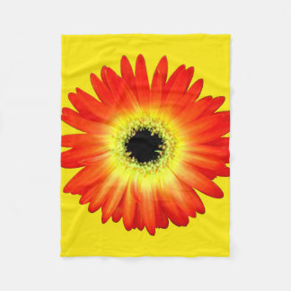 Orange and Yellow Gerbera Daisy Fleece Blanket