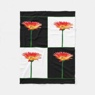Orange and Yellow Gerbera Daisy Mosaic BW Fleece Blanket