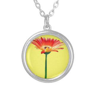 Orange and Yellow Gerbera Daisy Silver Plated Necklace