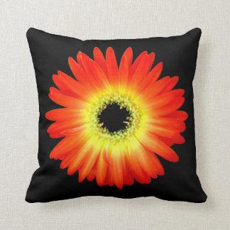 Orange and Yellow Gerbera Daisy Throw Pillow