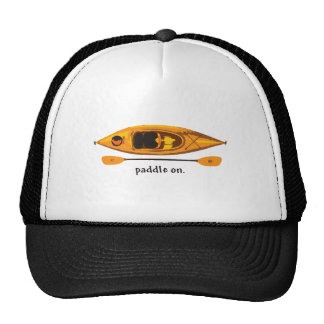 Orange and yellow Kayak with Paddle On Cap