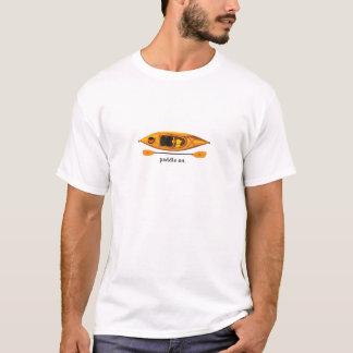 Orange and yellow Kayak with Paddle On T-Shirt