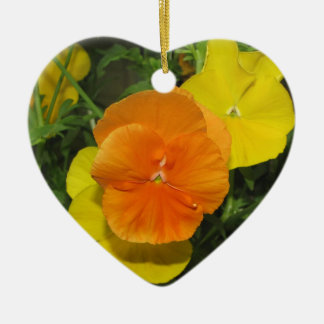 Orange and yellow pansies pansy christmas ornament
