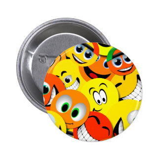 ORANGE AND YELLOW SMILEY FACES COLLAGE 6 CM ROUND BADGE