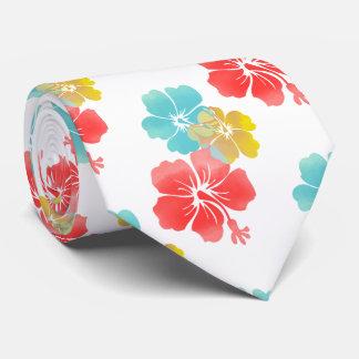 Orange/Aqua/Yellow Hibiscus/Hawaiian Floral Tie