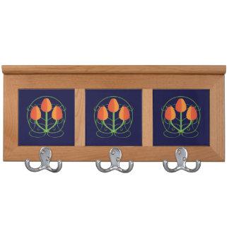 Orange Art Nouveau Mission Style Tulips Coat Rack