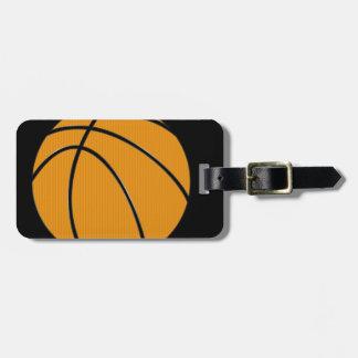 Orange Basketball With Black Background Travel Bag Tag