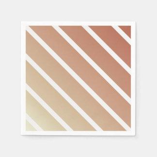 Orange Beige Vintage Diagonal Stripes Disposable Serviettes