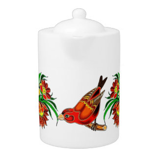 Orange Bird and Floral Deco