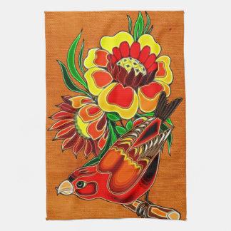 Orange Bird and Floral Deco Tea Towel