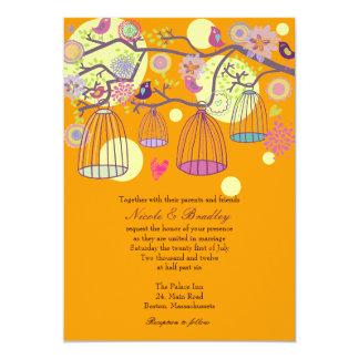 Orange Bird Cage Love Birds Wedding Invitation