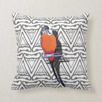 Orange Bird Cushion Monochrome Triangle Pattern