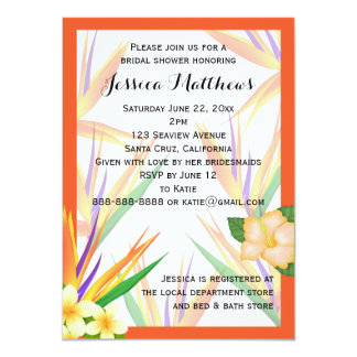 Orange Bird of Paradise Bridal Shower Wedding 11 Cm X 16 Cm Invitation Card