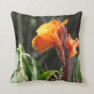 orange bird of paradise flower throw pillow