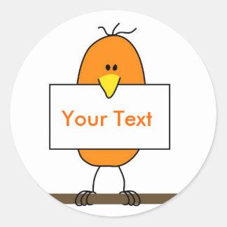 Orange bird round sticker