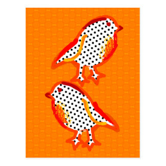 'orange birds' digital painting Postcard