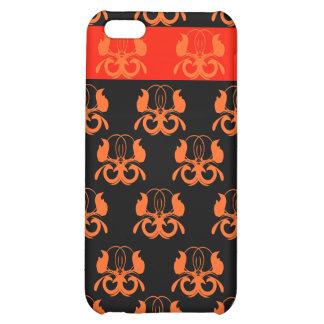 "Orange ""birds"" on black & red iPhone 5C cases"