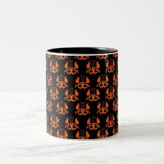 """Orange """"birds"""" on black Two-Tone mug"""